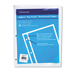 National Brand Rip Proof 20-lb.College Ruled Reinforced Filler Paper, Letter, WE, 100 Sheets/Pk