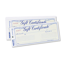 Rediform Gift Certificates w/Envelopes, 8-1/2w x 3-2/3h, Blue Border, 25/Pack
