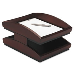 Rolodex Executive Woodline II Front Loading Legal Desk Tray, Two Tier, Wood, Mahogany