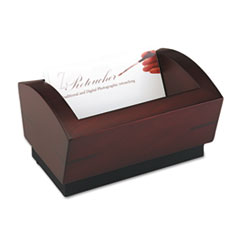 Rolodex Executive Woodline II Business Card Holder for 100 2 1/4 x 4 Cards, Mahogany
