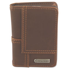 Rolodex Explorer Leather Personal Card Case, 36-Card Capacity, 2 3/4 x 4, Brown