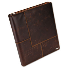 Rolodex Explorer Leather Organizer Business Card Book, 240-Card Cap., 11 x 13 1/2, Brown