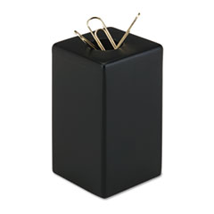 Rolodex Wood Tones Paper Clip Holder, Wood, 2 1/8 x 2 1/8 x 3 1/2, Black