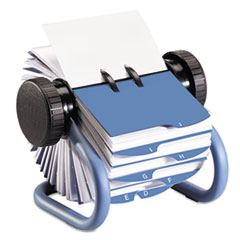 Colored Open Rotary Business Card File with 24 Guides, Blue