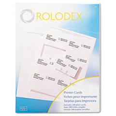 Rolodex Laser/Inkjet Rotary File Cards, 2 1/4 x 4, 8 Cards/Sheet, 240 Cards/Pack