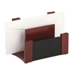 Rolodex Desktop Sorter, Wood/Faux Leather, 7 1/8 x 6 11/16 x 4 1/8, Black/Mahogany