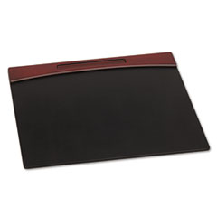 Rolodex Mahogany Wood and Black Faux Leather Desk Pad, 23 7/8 x 19 7/8 x 11/16