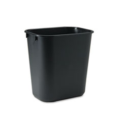 Rubbermaid Commercial Deskside Plastic Wastebasket, Rectangular, 3.5gal, Black