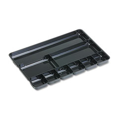 Rubbermaid Regeneration Nine-Section Drawer Organizer, Plastic, Black