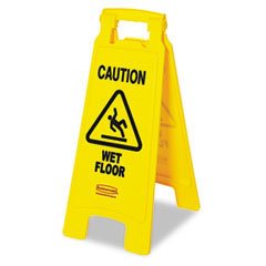 Rubbermaid Commercial �Caution Wet Floor� Floor Sign, Plastic, 11 x 1-1/2 x 26, Bright Yellow