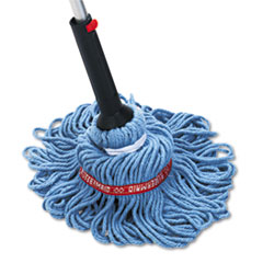 Rubbermaid Commercial Self-Wringing Ratchet Twist Mop, Blended Yarn Head, 54 Handle