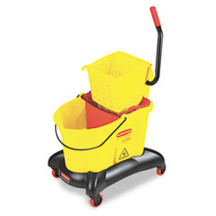 Rubbermaid Commercial Wavebrake 35 Qt Dual Water Side Press Mop Bucket & Wringer, Yellow