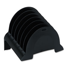Rubbermaid Plastic Incline Sorter, Three Sections, 9 5/8 x 6 1/2 x 7 3/8, Black