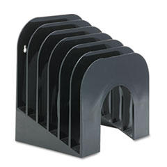 Rubbermaid Six-Tier Jumbo Incline Sorter, Plastic, 9 3/8 x 10 1/2 x 7 3/8, Black