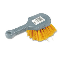 Rubbermaid Commercial Long Handle Scrub, 8 Plastic Handle, Gray Handle w/Yellow Bristles