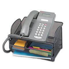 Safco Onyx Angled Mesh Steel Telephone Stand, 11 3/4 x 9 1/4 x 7, Black