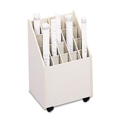 Safco Laminate Mobile Roll Files, 20 Compartments, 15-1/4w x 13-1/4d x 23-1/4h, Putty
