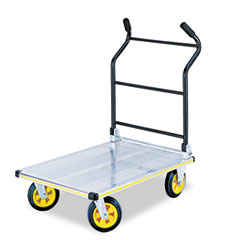 Safco Stow-Away Platform Truck, 900lb Capacity, 24 x 35-1/4, Aluminum/Black