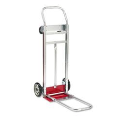 Safco 3-Way Convertible Hand Truck Cart, 500-600lb Cap, 20-1/4 x 48, Aluminum/Red