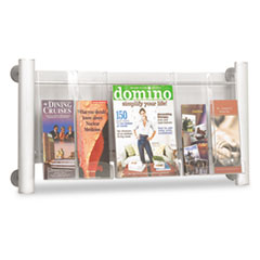 Safco Luxe Magazine Rack, 3 Compartments, 31-3/4w x 5d x 15-1/4h, Silver/Clear