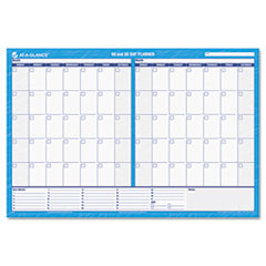 AT-A-GLANCE Recycled 30/60-Day Undated horizontal Erasable Wall Planner, 48 x 32, Blue/White