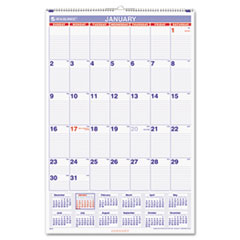 AT-A-GLANCE Recycled Monthly Wall Calendar, Blue and Red, 20