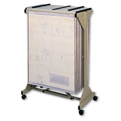 Safco Mobile Plan Center Sheet Rack, 18 Hanging Clamps, 43-3/4 x 20-1/2 x 51, Sand