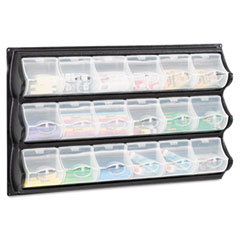 Safco Polypropylene Panel Storage w/18 Bins, 34 x 51/4 x 20 1/2, Black
