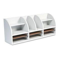 Safco Radius Front Desktop Organizer, 12 Sections, 38 1/2 x 9 5/8 x 15 1/4, Gray
