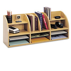 Safco Radius Front Organizer, 12 Sections, 38 1/2 x 9 5/8 x 15 1/4, Medium Oak
