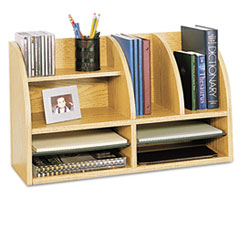 Safco Radius Front Organizer, Eight Sections, 25 7/8 x 9 5/8 x 15 1/4, Medium Oak
