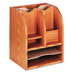 Safco Radius Front Corner Organizer, Eight Sections, 13 1/4 x 11 x 16 1/2, Oak