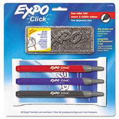 Click Dry Erase Marker Starter Set, Eraser/Wipes/Markers, Fine, Assorted, 3/Set