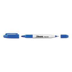 Sharpie Twin-Tip Permanent Marker, Fine/Ultra Fine Point, Blue