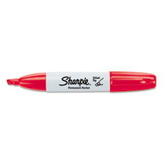 Sharpie Permanent Marker, 5.3mm Chisel Tip, Red, Dozen