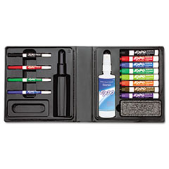 Low-Odor Dry Erase Marker, Eraser &amp; Cleaner, Chisel/Fine, 12/Set
