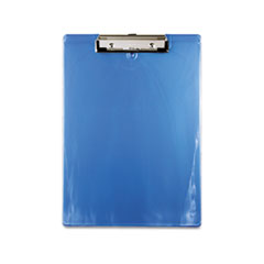 Plastic Clipboard, 1/2&quot; Capacity, Holds 8-1/2w x 12h, Ice Blue