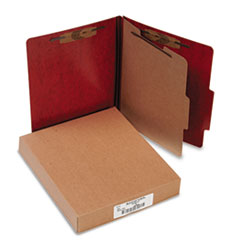 ACCO Presstex 20-Point Classification Folders, Letter, Four-Section, Red, 10/Box