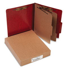 ACCO Presstex 20-Point Classification Folders, Letter, Six-Section, Red, 10/Box