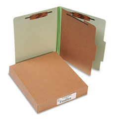 ACCO Pressboard 25-Pt. Classification Folder, Letter,4-Section, Leaf Green, 10/Box