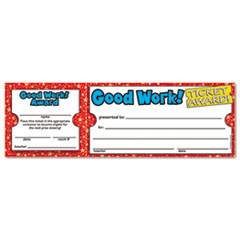 Scholastic Good Work Ticket Awards, 8 1/2w x 2 3/4h, 100 2-Part Tickets/Pack