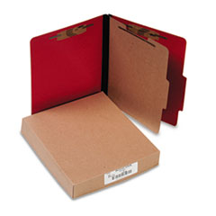 ACCO Presstex Classification Folders, Letter, Four-Section, Executive Red, 10/Box