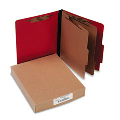 ACCO Presstex Classification Folders, Letter, Six-Section, Executive Red, 10/Box