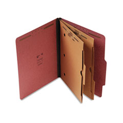 S J Paper Pressboard Classification Folder with Pockets, Letter, Six-Section, Red, 15/Box