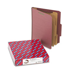 Smead Pressboard Classification Folders, Self Tab, Letter, Six-Section, Red, 10/Box