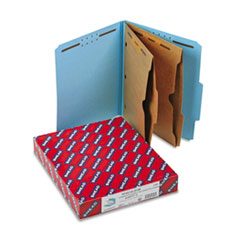 Smead Pressboard Folders with Two Pocket Dividers, Letter, Six-Section, Blue, 10/Box