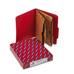 Smead Pressboard Folders, Two Pocket Dividers, Letter, Six-Section, Bright Red, 10/Box