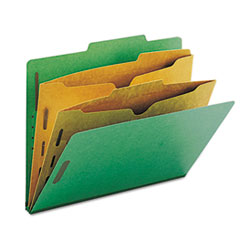 Smead Pressboard Folders with Two Pocket Dividers, Letter, Six-Section, Green, 10/Box