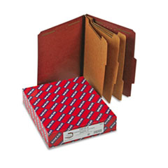Smead Pressboard Classification Folders, Self Tab, Letter, Eight-Section, Red, 10/Box