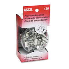 ACCO Presentation Clips, Steel/Nickel, Assorted Size Clips, Silver, 30/Box
